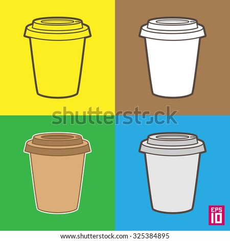 Vector isolated coffee cup icons / objects with colorful background.  - stock vector