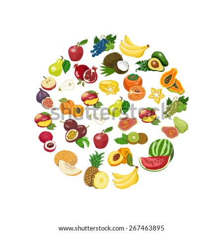 Vector isolated collection of fresh healthy fruits. Vector illustration for your design - stock vector
