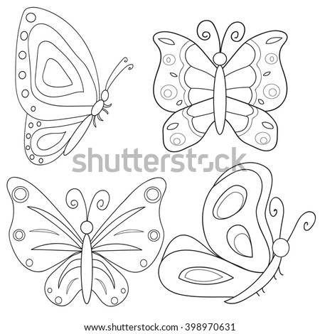 Vector Isolated Coloring Book Butterfly Stock Vector 398970631 ...