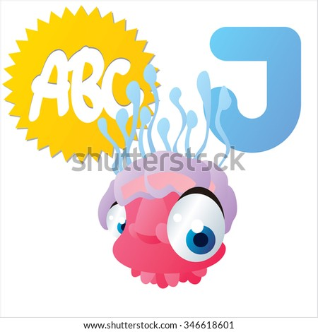 vector isolated comic cartoon animals alphabet: J is for Jelly Fish - stock vector