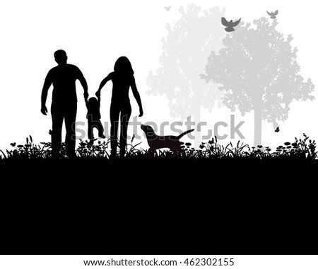 vector, isolated, family with child and dog playing nature