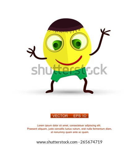 Vector. Isolated funny cartoon character. Closeup. Vector eps 10 - stock vector