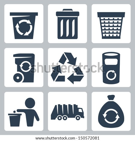 Vector isolated garbage icons set - stock vector