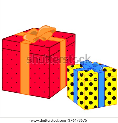 Vector isolated illustration, cute cartoon of great gifts. - stock vector