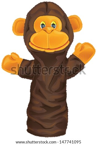 Vector isolated image of a monkey puppet - stock vector
