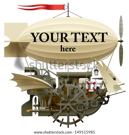 Vector isolated image of the complex fantastic flying ship with machinery, dirigible, sail, wings, water-wheel, spyglass and other equipment - stock vector
