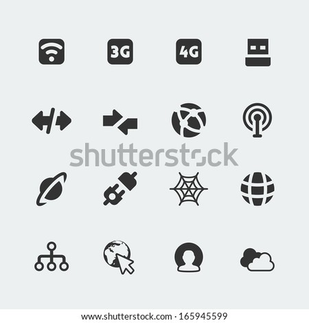 Vector isolated internet and connection mini icons set - stock vector