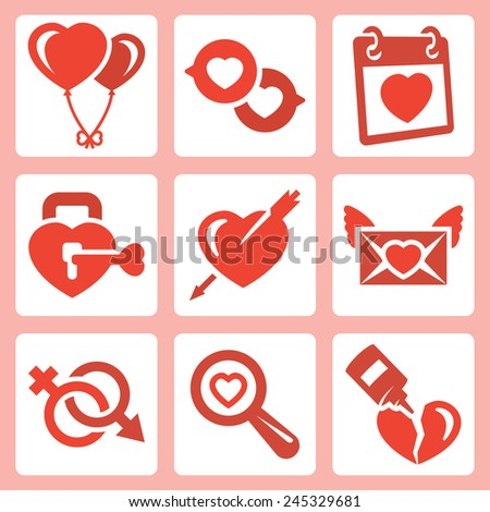 Vector isolated love icons set: baloons, speech bubbles, Valentine's Day, lock, heart and arrow, love letter, gender symbol, search, broken heart - stock vector