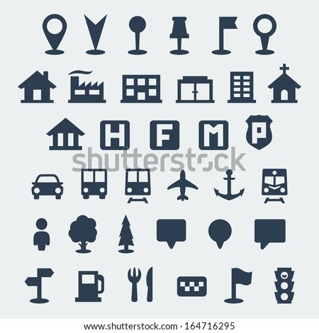 Vector isolated map icons set - stock vector