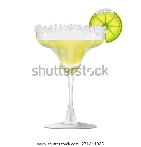 Vector isolated margarita glass with a slice of lime