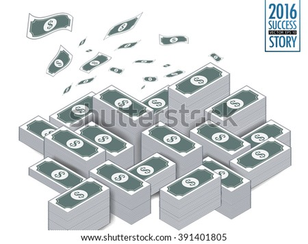 Vector isolated money.Big stacked pile of cash.To adapt idea for commercial,business,advertising,marketing,information,financial,illustration - stock vector