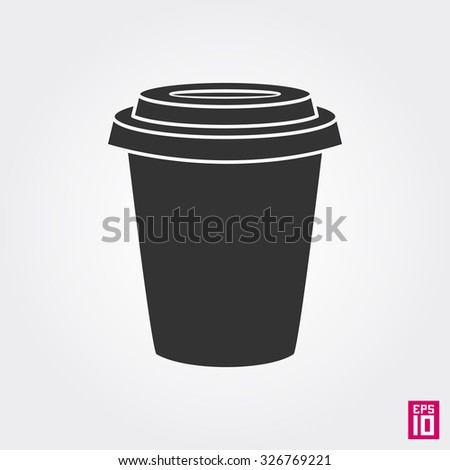 Vector isolated monochrome coffee cup   - stock vector