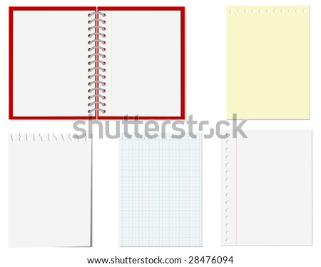 Vector. Isolated pages of notebook on the white - stock vector