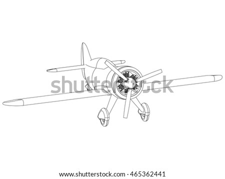 Vector isolated propeller plane drawing