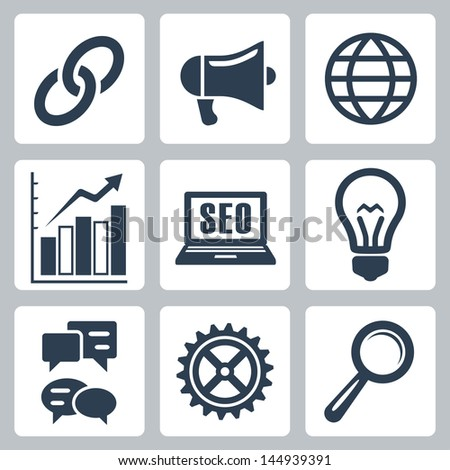 Vector isolated seo icons set #1 - stock vector