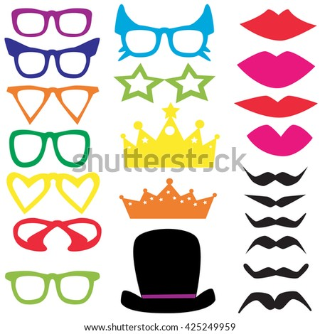 vector isolated set for a masquerade party and photo shoots