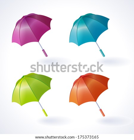 Vector isolated set of simple colorful umbrellas