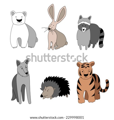 Vector isolated set of six cartoon animals. File arranged in layers. - stock vector