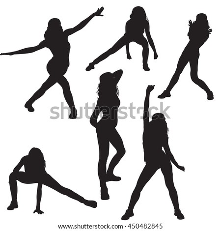vector, isolated,set silhouettes girl dancing