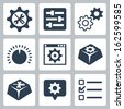 Vector isolated settings icons set - stock vector