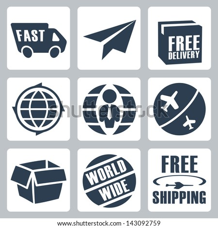 Vector isolated shipping icons set - stock vector