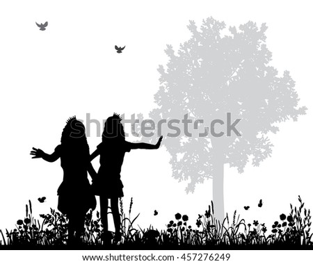 vector, isolated silhouette, children dancing on the nature - stock vector