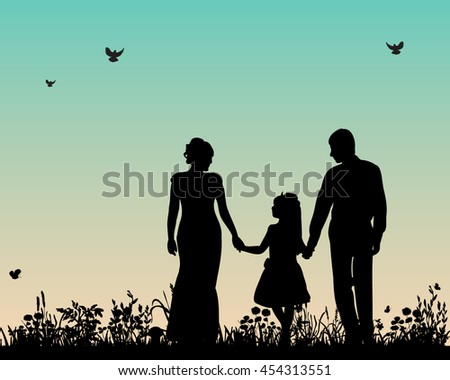 vector, isolated, silhouette family who walks in the nature