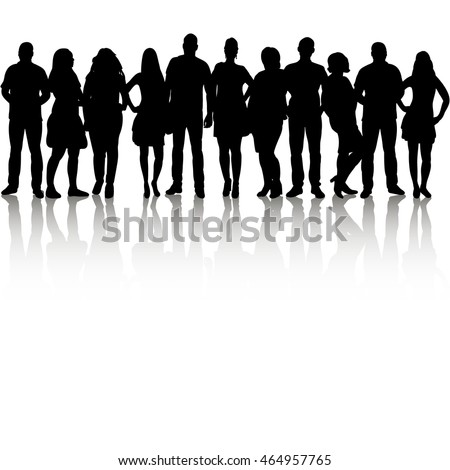 vector, isolated, silhouette group people, each edited separately