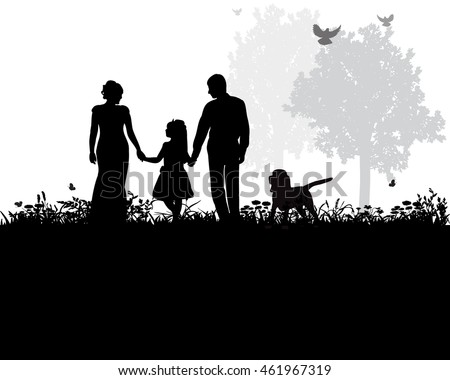 vector, isolated, silhouette of family walking with dog in nature