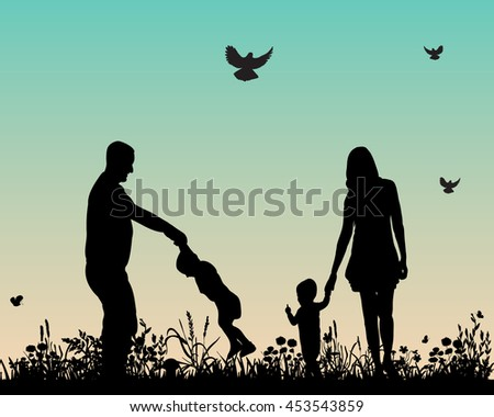 vector, isolated,silhouette of happy family playing nature