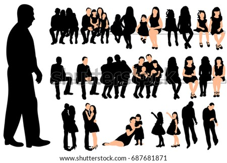 Vector, isolated silhouette of people, men women, collection