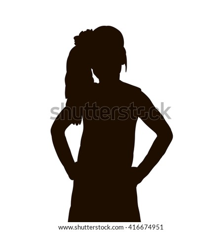 vector, isolated, silhouette portrait of a girl