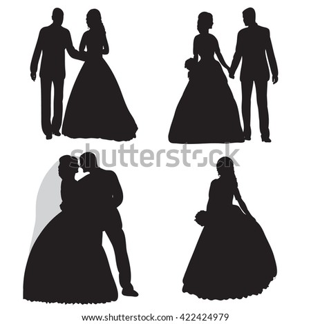 vector , isolated, silhouette , wedding, bride and groom, set,