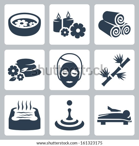 Vector isolated spa icons set - stock vector
