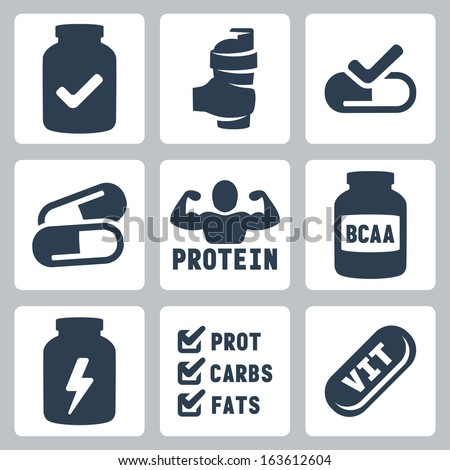 Vector Isolated Sport Supplements Icons Set Stock Vector ...