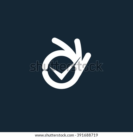 Vector isolated unusual logo. All perfectly. Well done. Great. Suit. Checked. Good Symbol. Fingers hands shows OK. White color design element on dark blue background. - stock vector