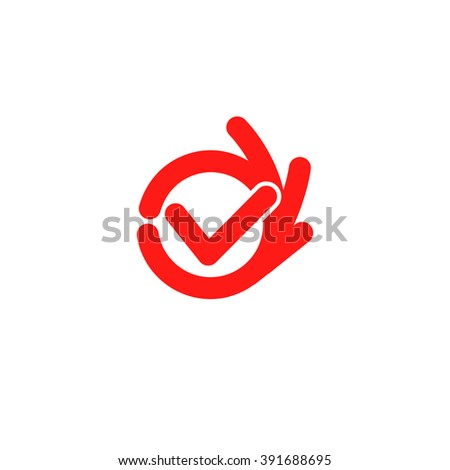 Vector isolated unusual logo. Good job. All perfectly. All OK. Well done. Fingers hands shows OK. Great. Its OK. Suit. Checked. Good. Symbol. Red color design element on white background. - stock vector