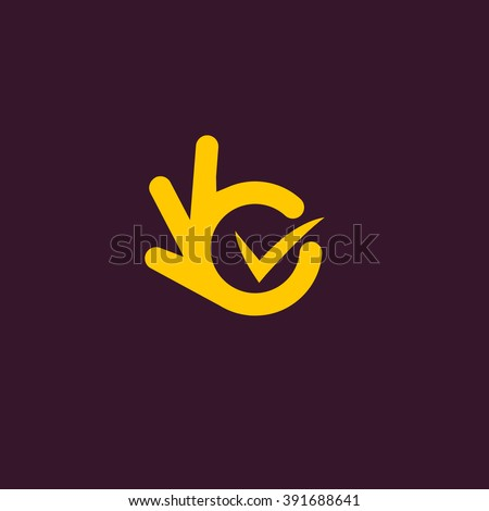 Vector isolated unusual logo. Good job. All perfectly. Well done. Great. Suit. Checked. Good. Symbol.  Fingers hands shows All OK. Yellow color design element on dark purple background. - stock vector