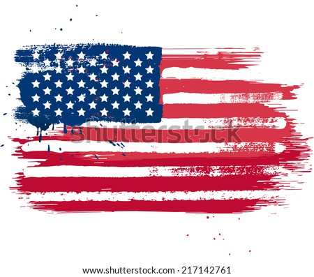 Vector isolated USA flag in grunge style - stock vector
