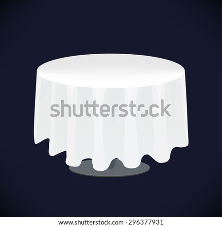 Vector isolated white table on black background. Table cloth - stock vector