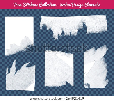 Vector isolated white torn stickers collection. Transparent Design elements to fit any background. - stock vector