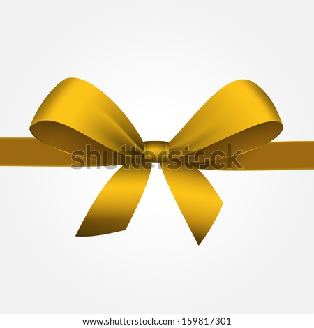 Vector Isolated Yellow Gift Bow with Ribbon - stock vector