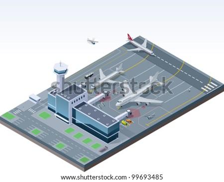 Vector isometric airport - stock vector