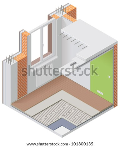 Vector isometric apartment cutaway icon - stock vector
