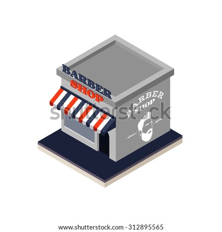 Vector isometric barber shop building icon for your design