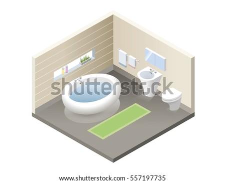 Vector Isometric Bathroom Set Of Modern Bath Furniture Icons Retro Interior