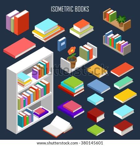 Vector isometric books  - stock vector