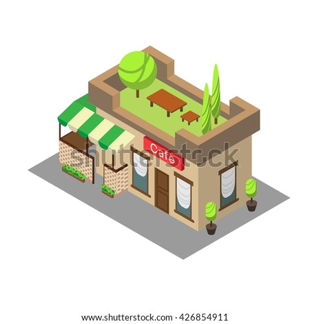 Vector isometric building street cafe. Isometric icon or infographic element street cafe on white background. - stock vector