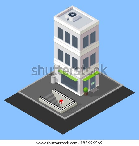 vector isometric building with metro station - stock vector