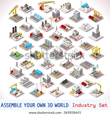 Vector isometric buildings. Industrial Factory Set. Flat 3D Urban City Map Isolated Elements Isometry Isometric Infographic Game Tiles MEGA Collection JPG JPEG Image Drawing Object Picture EPS 10 AI - stock vector